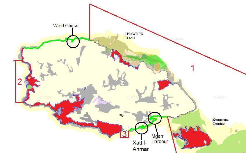 All protected areas in Gozo as obtained from the Malta Environment Planning Authority's website