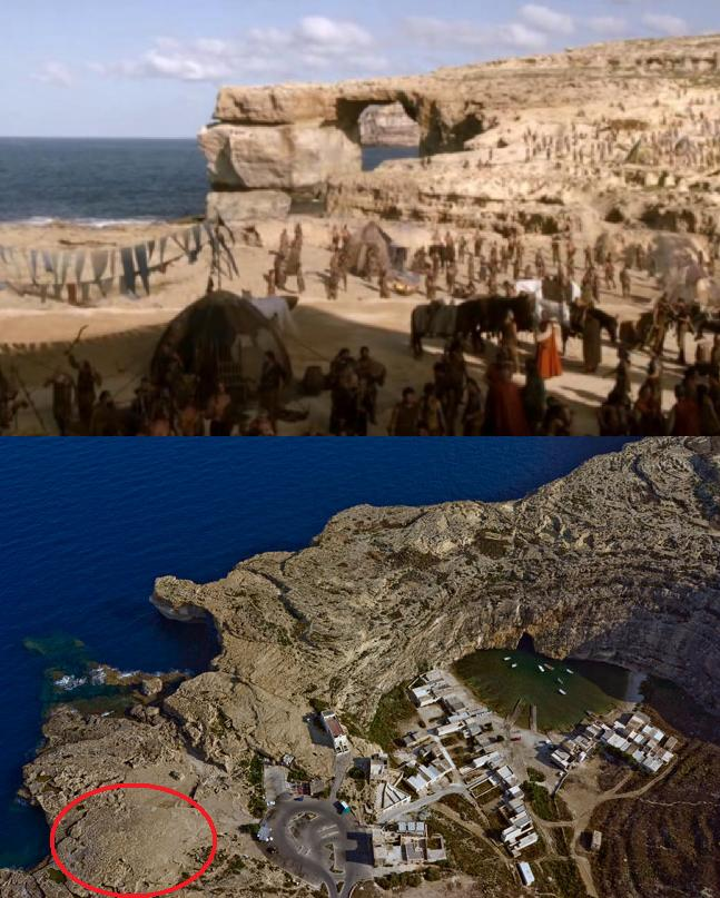 (Above) Game of Thrones Season 1 episode 1 showing the Dothraki Wedding scene and the sediment that was deposited in the protected area. (Below): an ariel photograph showing the filming site (circled in red) before filming occurred