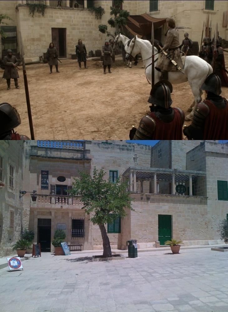 (Above) - Game of Thrones season 1 episode 5 - The scene where Jaime Lannister arrests Ned Stark at Petyr Baelish's brothel (Below): The filming location for this scene is in Malta's old capital Mdina