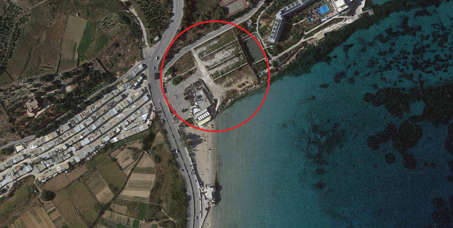 The area circled in red is the one being earmarked for development by Mr Curmi. Costa del Sol is shown within the circle, while the rest is public land which the government has no problem selling off to this restaurant owner.