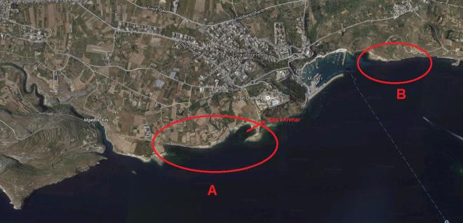 Ghajnsielem qala coastline